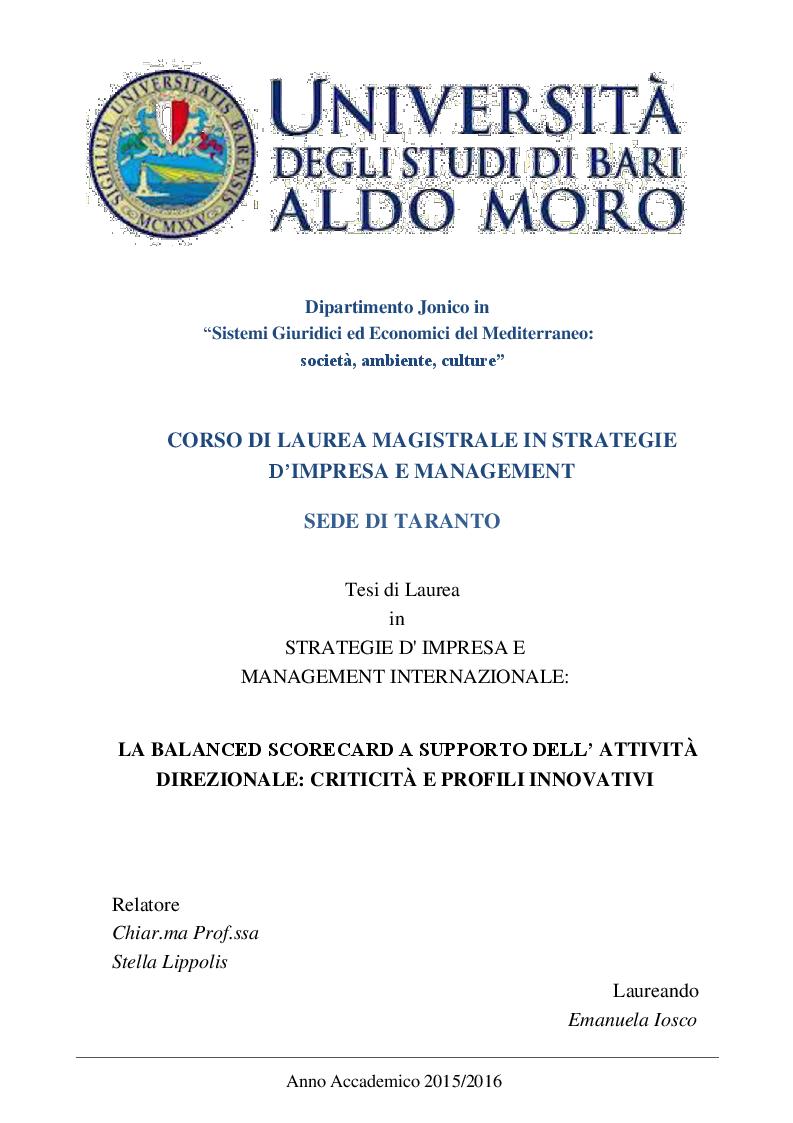Anteprima della tesi: La Balanced Scorecard a supporto dell'attività direzionale: criticità e profili innovativi, Pagina 1