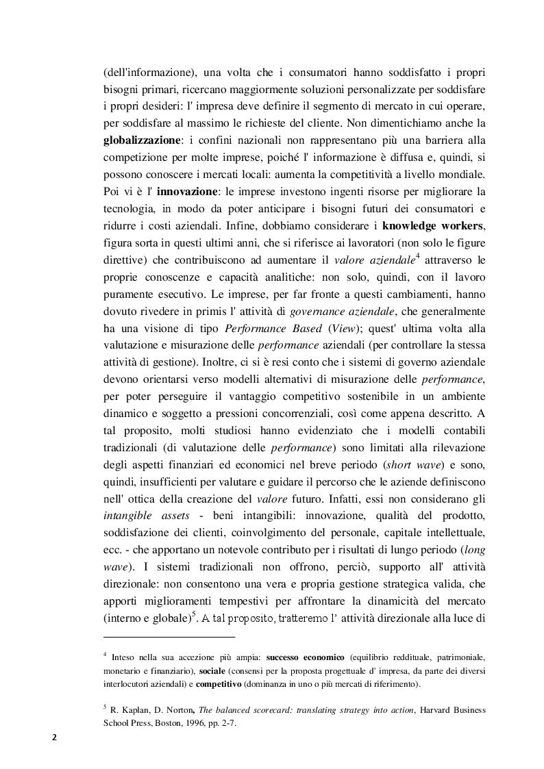 Anteprima della tesi: La Balanced Scorecard a supporto dell'attività direzionale: criticità e profili innovativi, Pagina 3