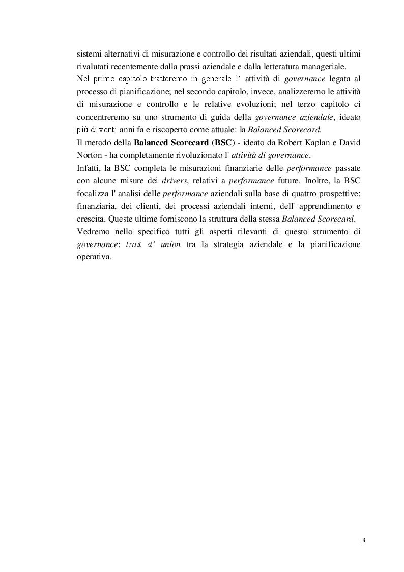 Anteprima della tesi: La Balanced Scorecard a supporto dell'attività direzionale: criticità e profili innovativi, Pagina 4