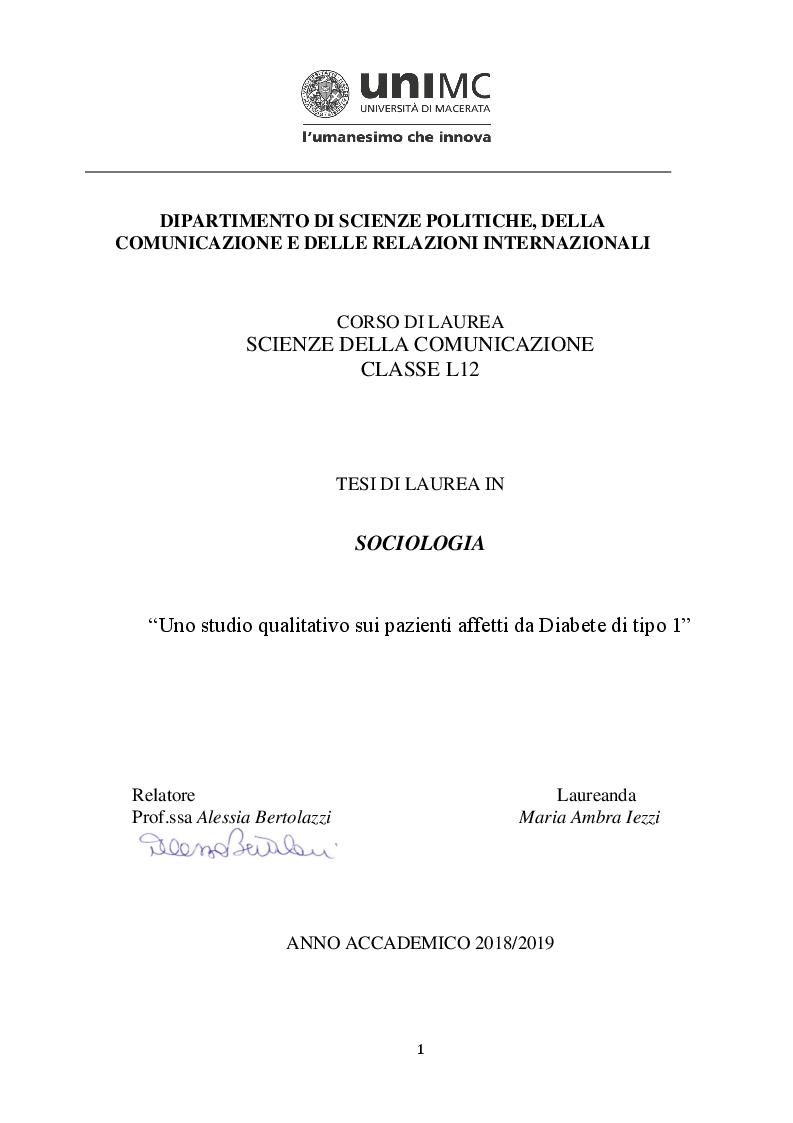Anteprima della tesi: Uno studio qualitativo sui pazienti affetti da Diabete di tipo 1, Pagina 1
