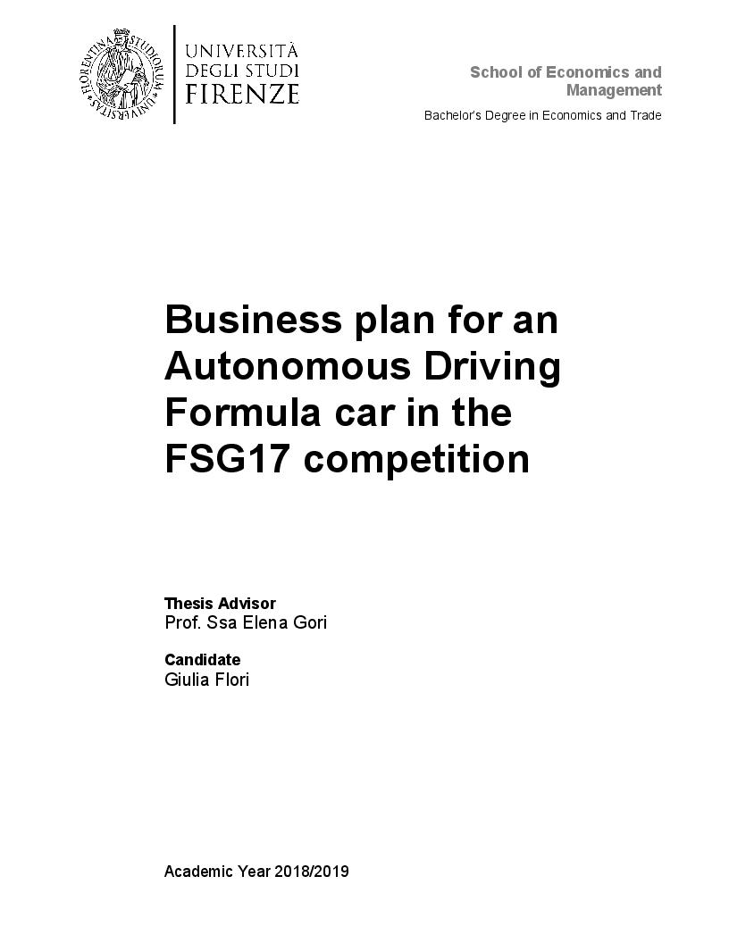 Anteprima della tesi: Business Plan for an Autonomous Driving Formula car in the FSG17 competition, Pagina 1