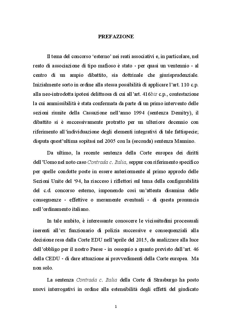 Anteprima della tesi: Concorso esterno in associazione mafiosa e principio di legalità convenzionale: il problematico adeguamento dell'ordinamento italiano alla sentenza della Corte Europea Dei Diritti Dell'Uomo sul caso Contrada c. Italia, Pagina 2