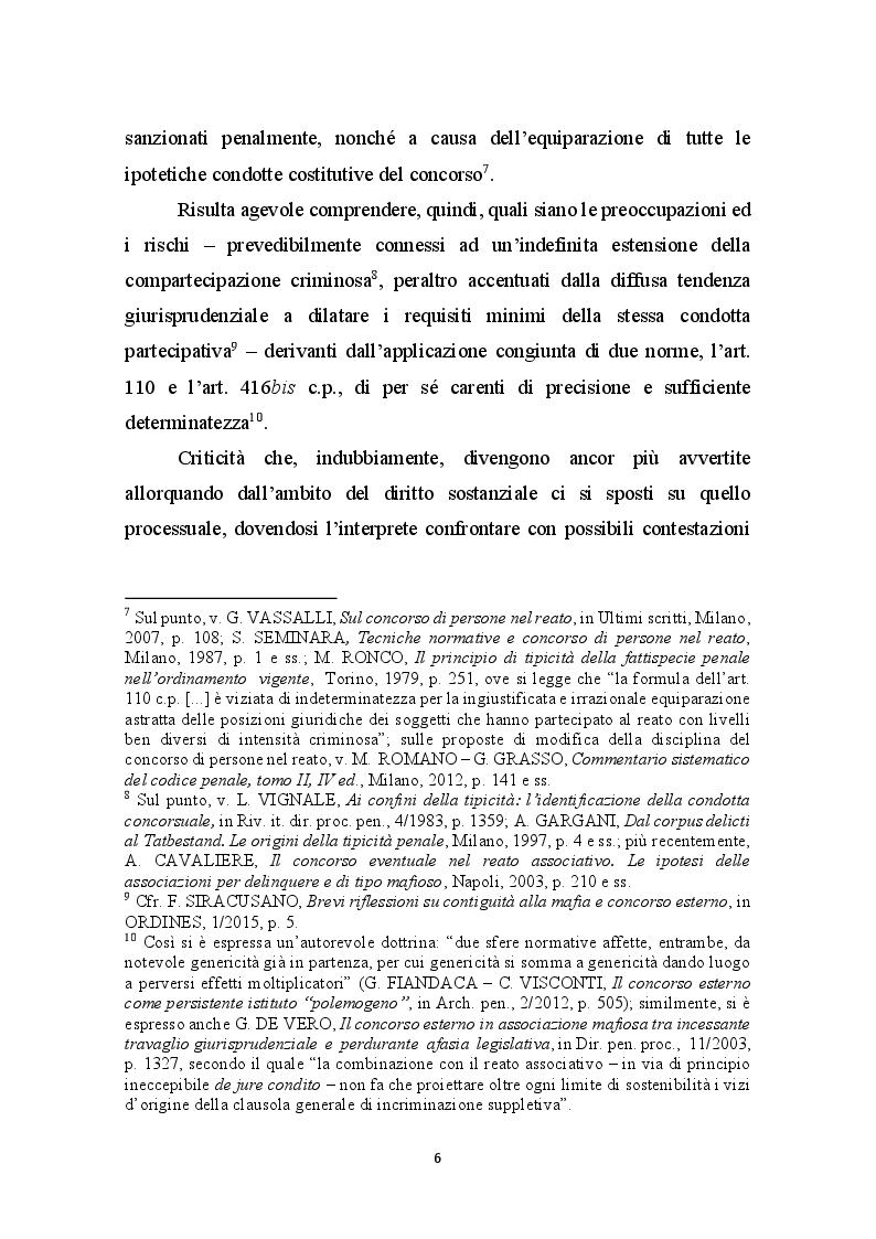 Anteprima della tesi: Concorso esterno in associazione mafiosa e principio di legalità convenzionale: il problematico adeguamento dell'ordinamento italiano alla sentenza della Corte Europea Dei Diritti Dell'Uomo sul caso Contrada c. Italia, Pagina 7