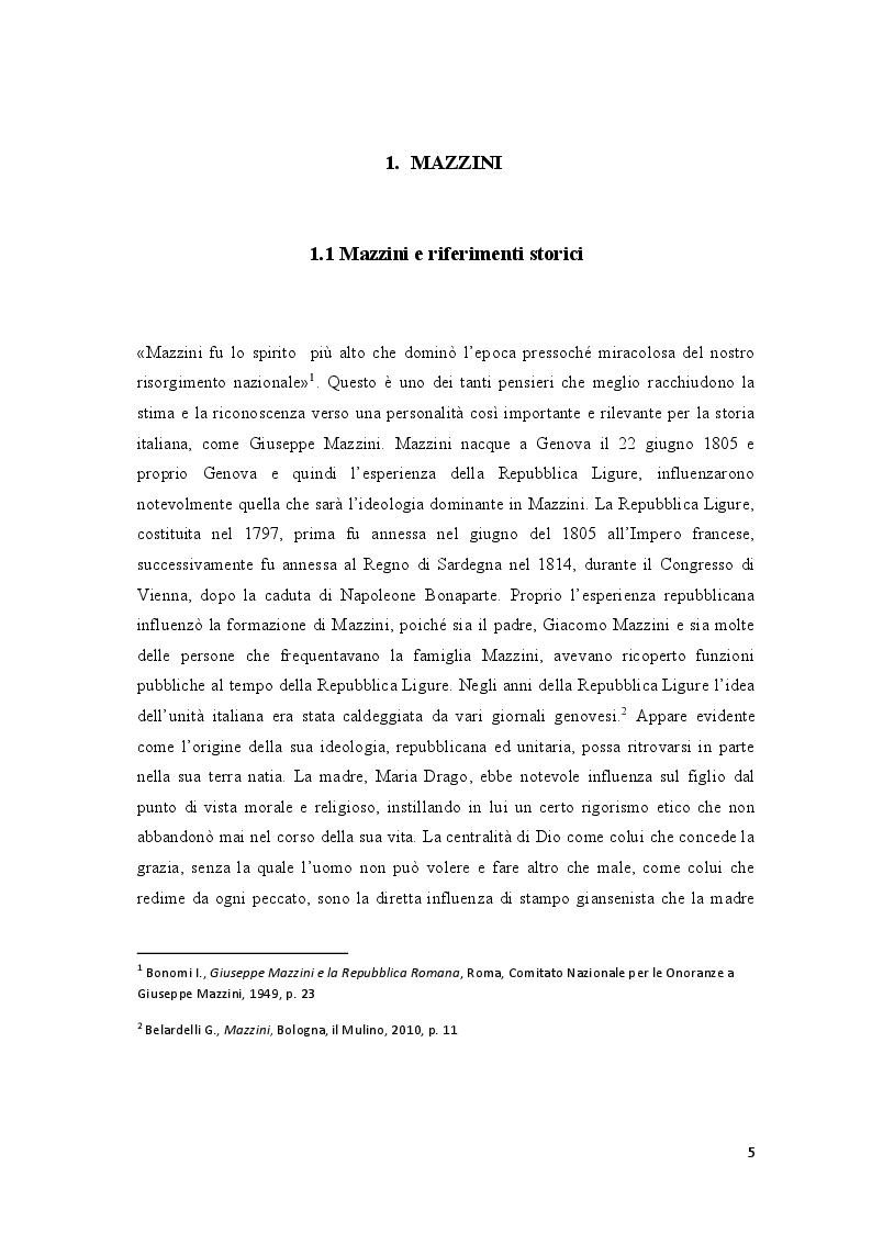 Anteprima della tesi: Repubblica Romana, Comune di Parigi: momenti del pensiero mazziniano, Pagina 4