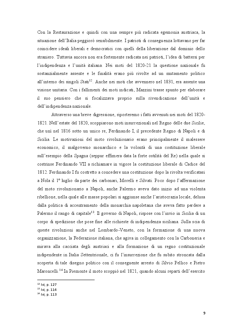 Anteprima della tesi: Repubblica Romana, Comune di Parigi: momenti del pensiero mazziniano, Pagina 8