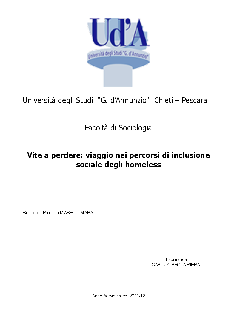 Anteprima della tesi: Vite a perdere: viaggio nei percorsi di inclusione sociale degli homeless, Pagina 1