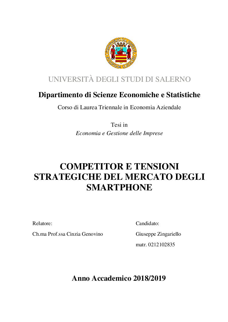 Anteprima della tesi: Competitor e tensioni strategiche del mercato degli smartphone, Pagina 1