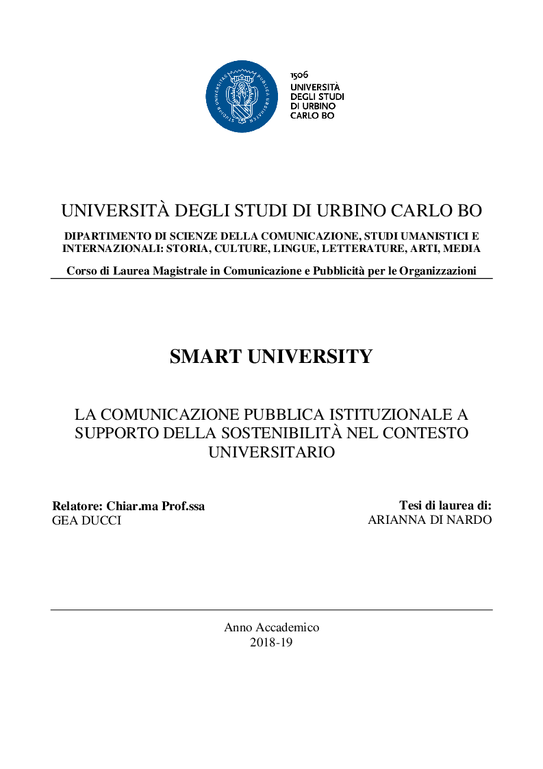 Anteprima della tesi: Smart University - La comunicazione pubblica istituzionale a supporto della sostenibilità nel contesto universitario, Pagina 1
