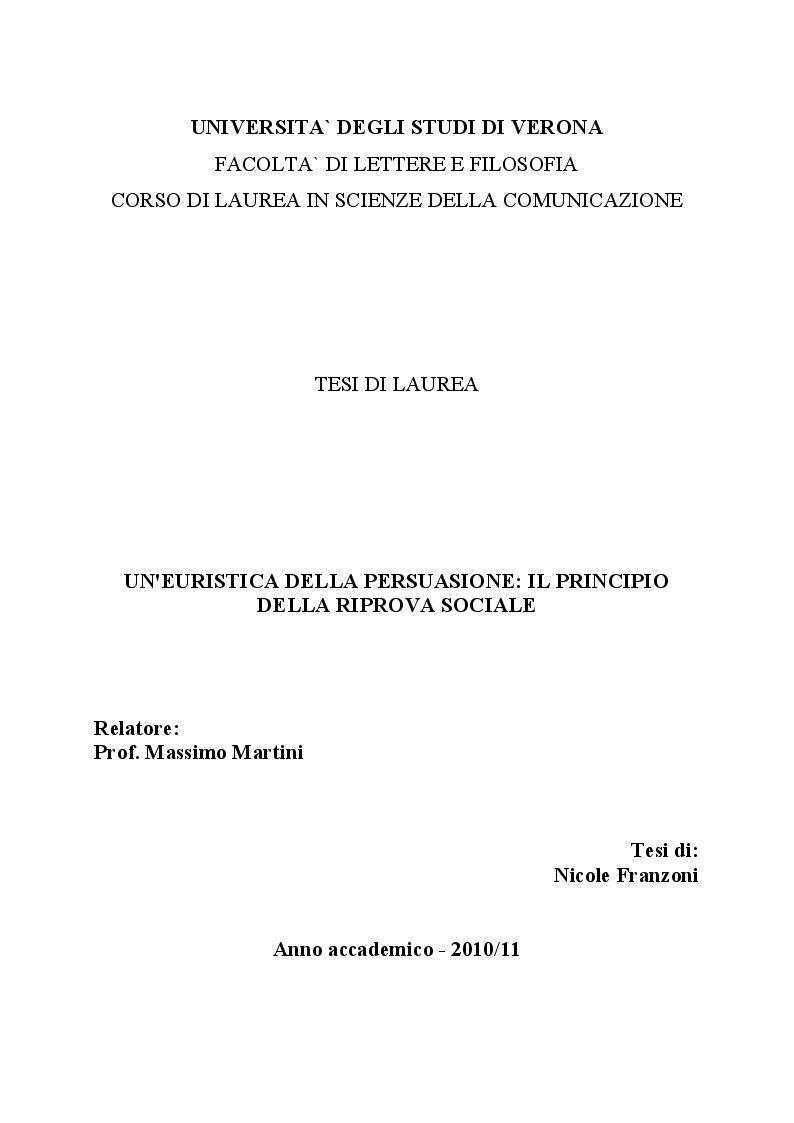 Anteprima della tesi: Un'euristica della persuasione: il principio della riprova sociale, Pagina 1