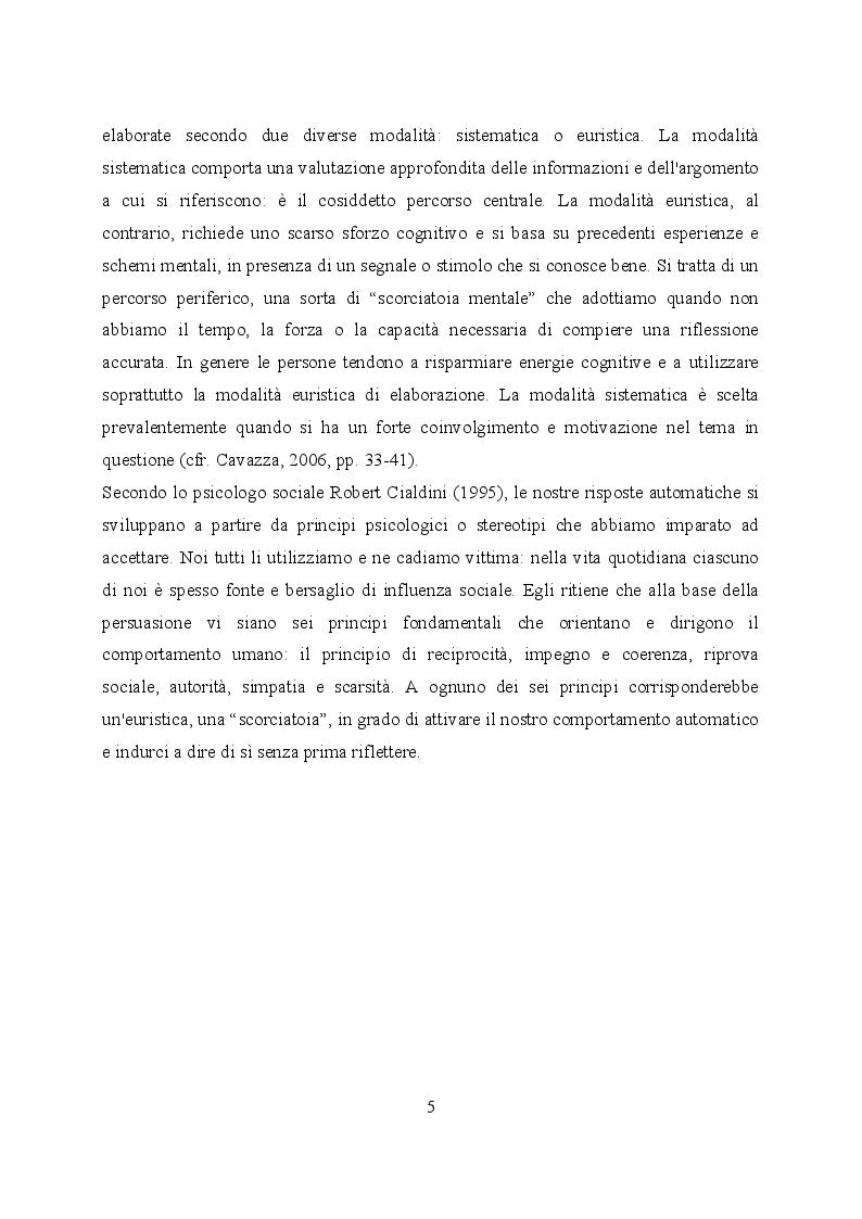 Anteprima della tesi: Un'euristica della persuasione: il principio della riprova sociale, Pagina 4