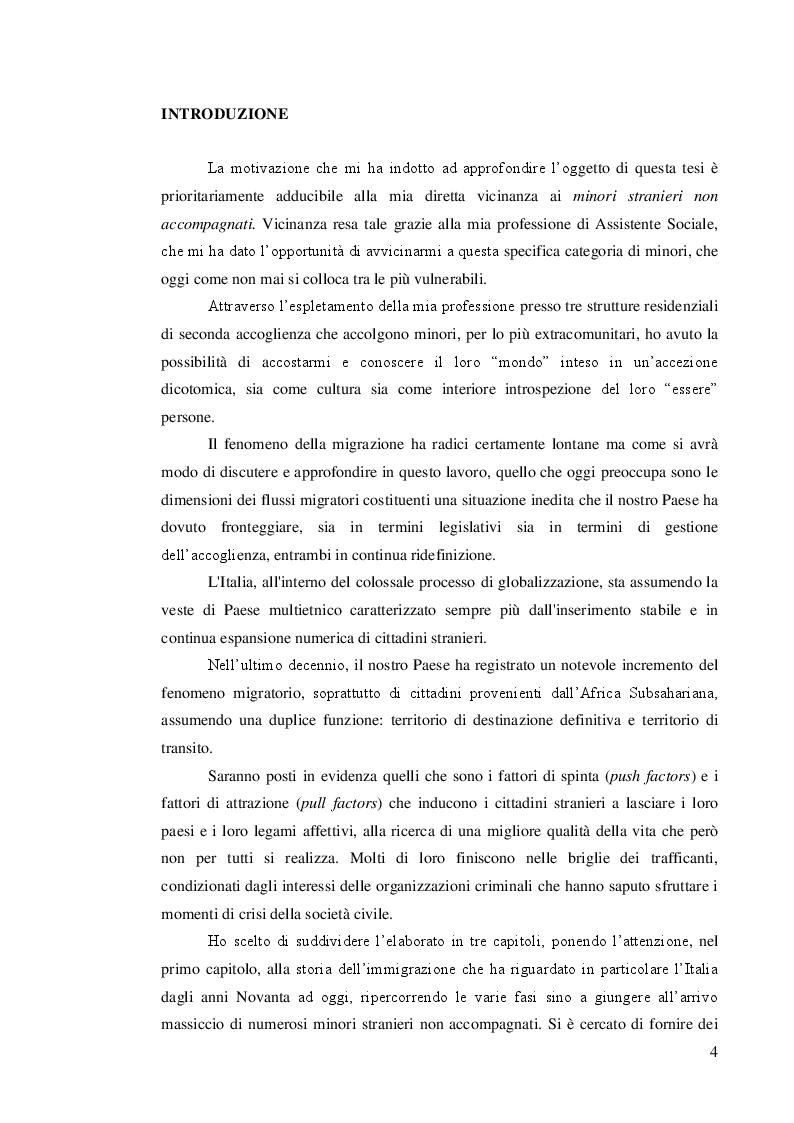 Anteprima della tesi: Quale accoglienza? Minori stranieri non accompagnati in Italia, Pagina 2
