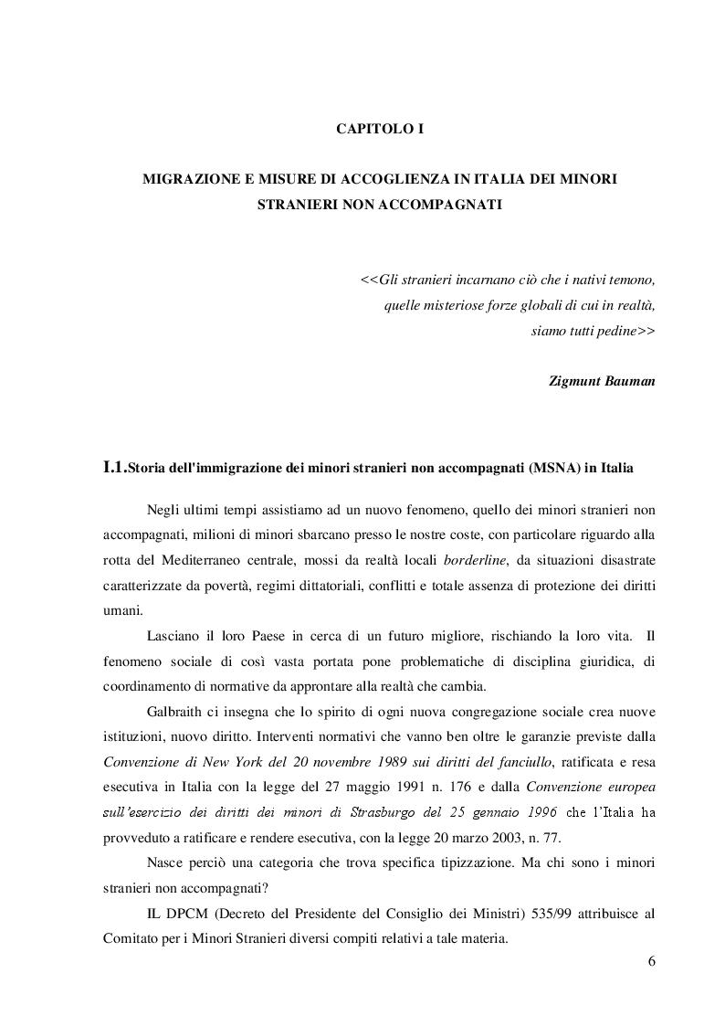 Anteprima della tesi: Quale accoglienza? Minori stranieri non accompagnati in Italia, Pagina 4