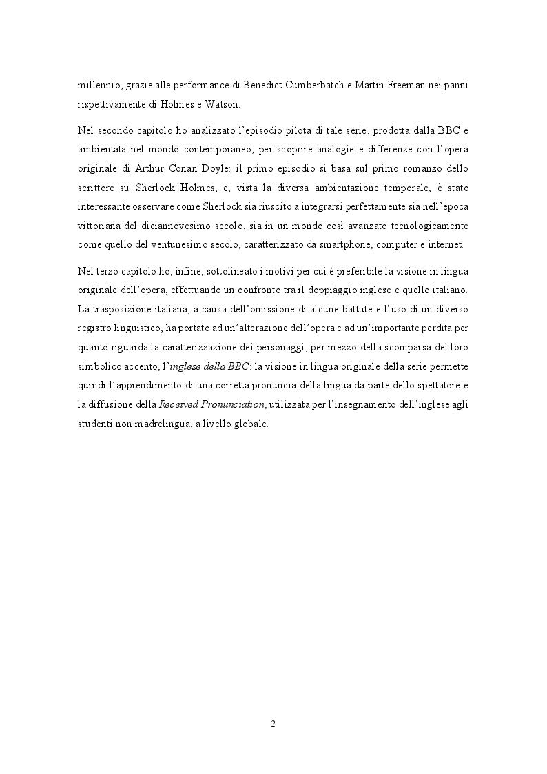 Anteprima della tesi: Analisi traduttologica della serie BBC ''Sherlock'', Pagina 3