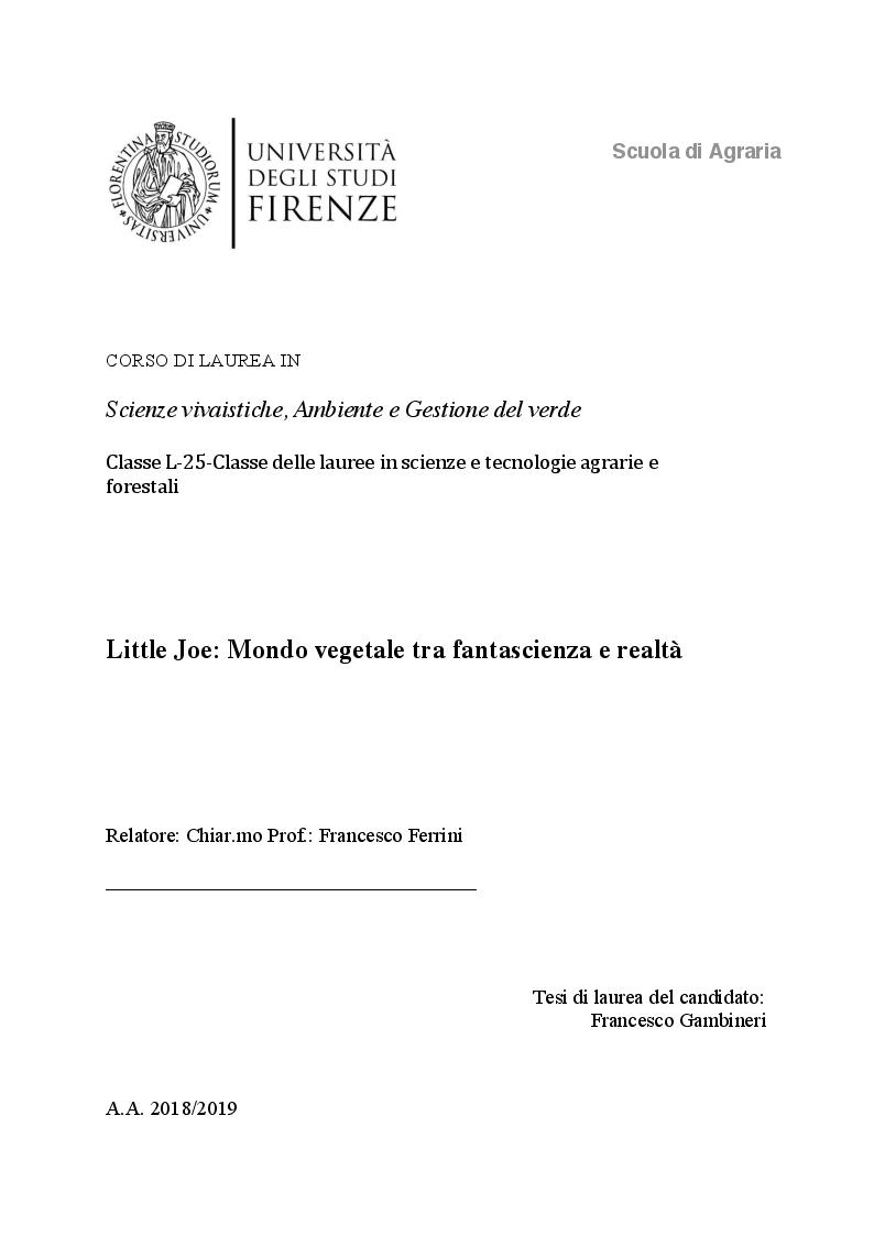 Anteprima della tesi: Little Joe: Mondo vegetale tra fantascienza e realtà, Pagina 1