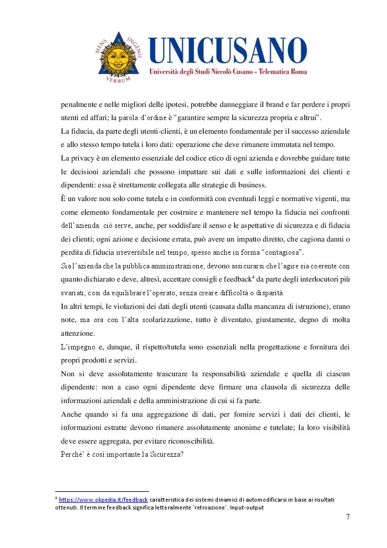 Anteprima della tesi: Cyber Security Compliance e privacy Come fattore reputazionale dell'impresa, Pagina 4