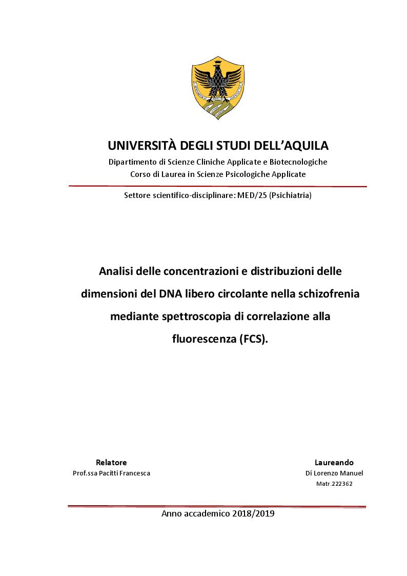 Anteprima della tesi: Analisi delle concentrazioni e distribuzioni delle dimensioni del DNA libero circolante nella schizofrenia mediante spettroscopia di correlazione alla fluorescenza, Pagina 1