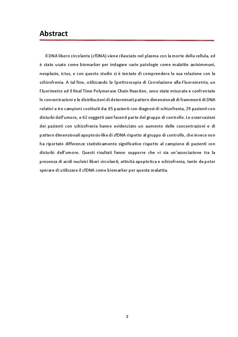 Anteprima della tesi: Analisi delle concentrazioni e distribuzioni delle dimensioni del DNA libero circolante nella schizofrenia mediante spettroscopia di correlazione alla fluorescenza, Pagina 2