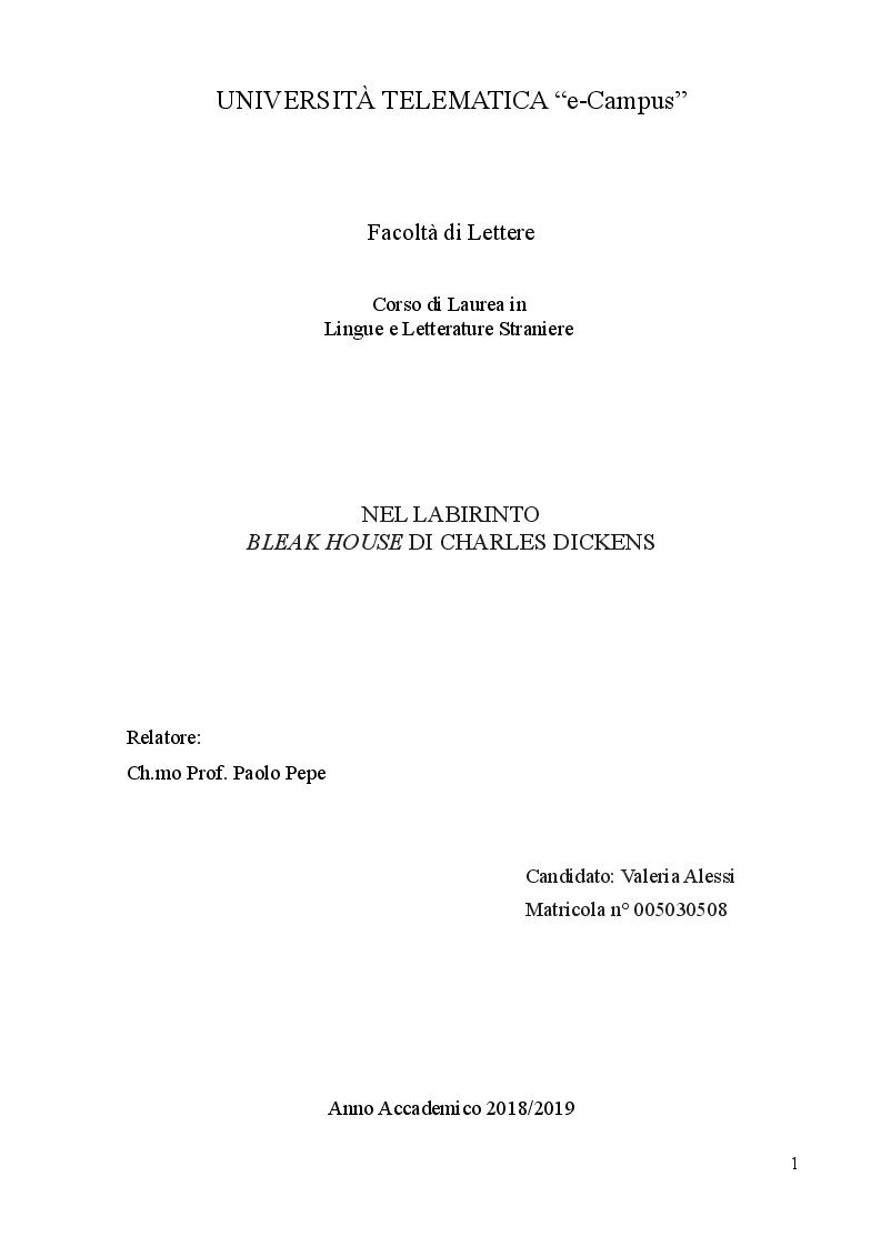 Anteprima della tesi: Nel labirinto. Bleak House di Charles Dickens, Pagina 1