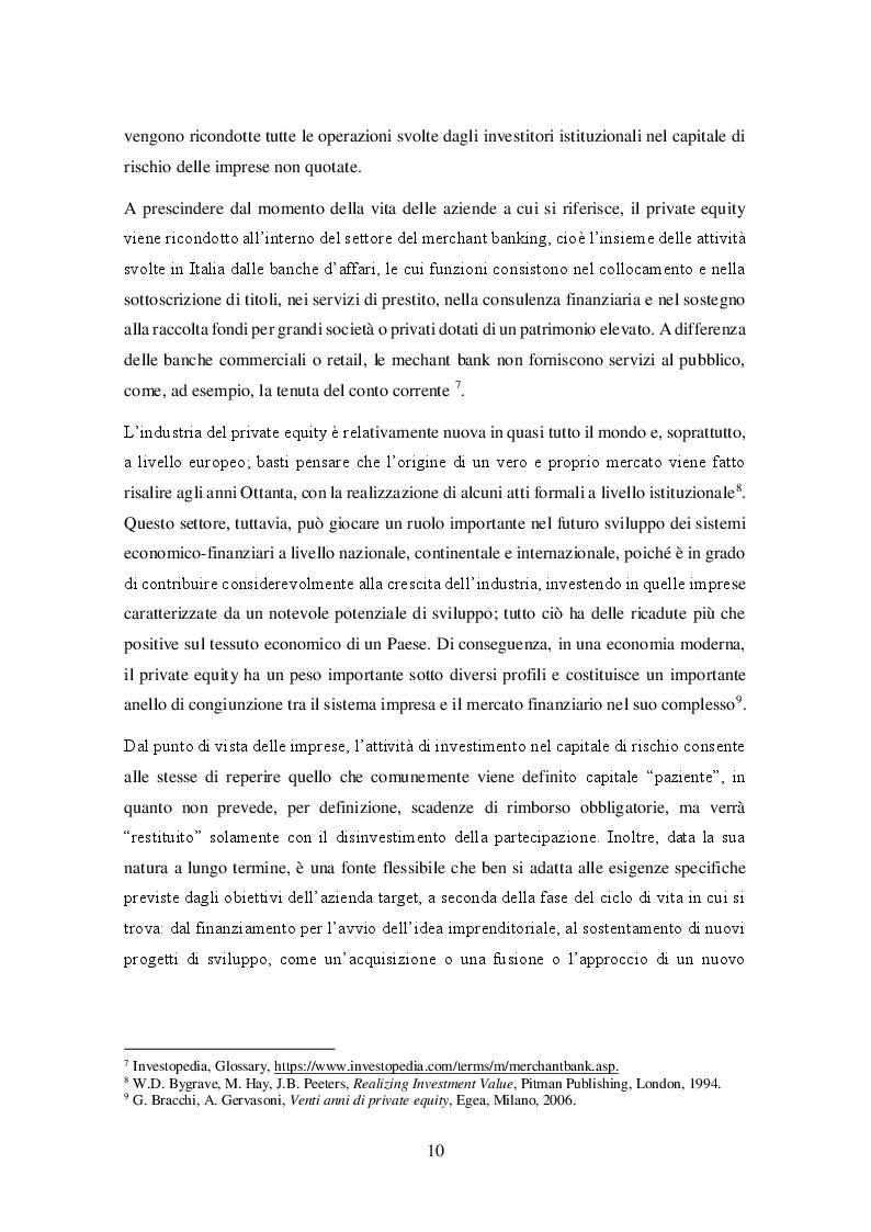 Estratto dalla tesi: Il private equity nel mercato italiano: dal processo di acquisto al disinvestimento