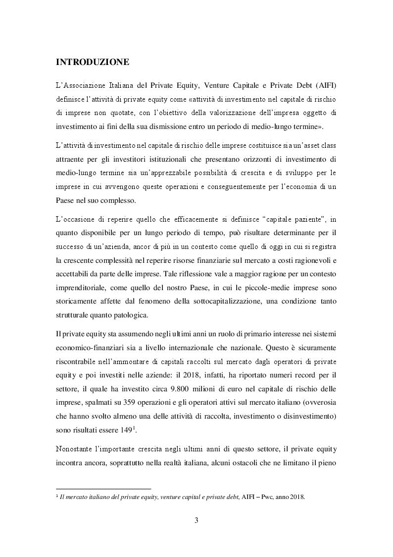 Anteprima della tesi: Il private equity nel mercato italiano: dal processo di acquisto al disinvestimento, Pagina 2