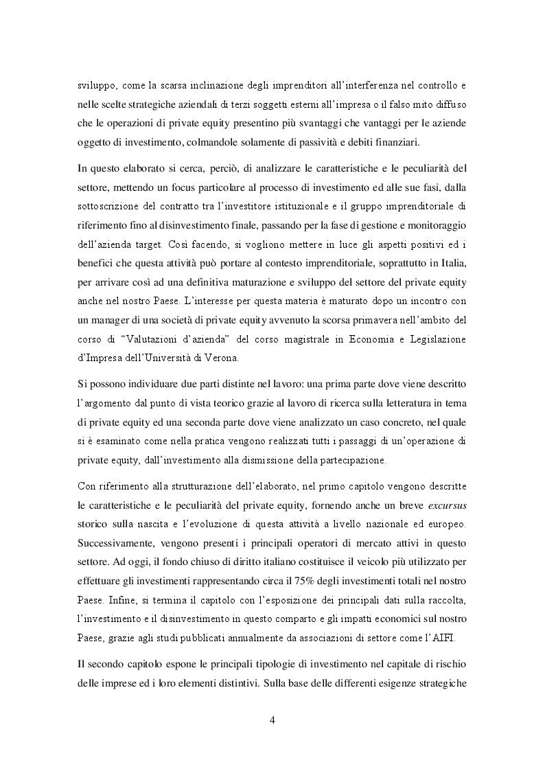 Anteprima della tesi: Il private equity nel mercato italiano: dal processo di acquisto al disinvestimento, Pagina 3