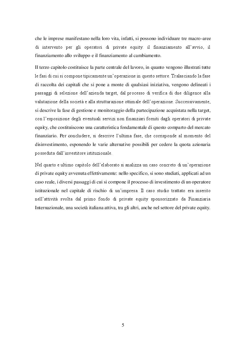 Anteprima della tesi: Il private equity nel mercato italiano: dal processo di acquisto al disinvestimento, Pagina 4
