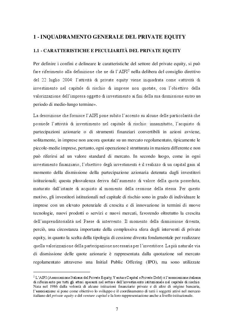 Anteprima della tesi: Il private equity nel mercato italiano: dal processo di acquisto al disinvestimento, Pagina 5