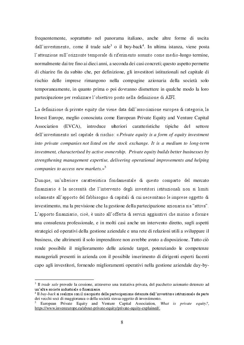 Anteprima della tesi: Il private equity nel mercato italiano: dal processo di acquisto al disinvestimento, Pagina 6