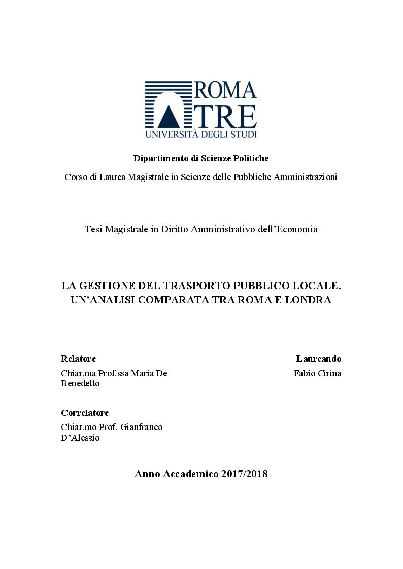 Anteprima della tesi: La gestione del trasporto pubblico locale. Un'analisi comparata tra Roma e Londra, Pagina 1