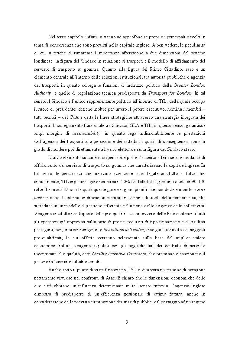 Anteprima della tesi: La gestione del trasporto pubblico locale. Un'analisi comparata tra Roma e Londra, Pagina 5