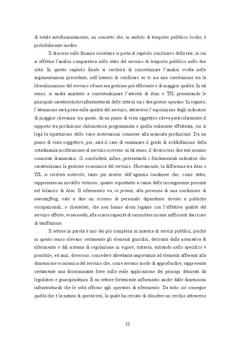 Anteprima della tesi: La gestione del trasporto pubblico locale. Un'analisi comparata tra Roma e Londra, Pagina 6