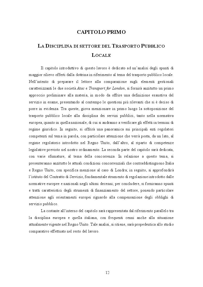 Anteprima della tesi: La gestione del trasporto pubblico locale. Un'analisi comparata tra Roma e Londra, Pagina 8