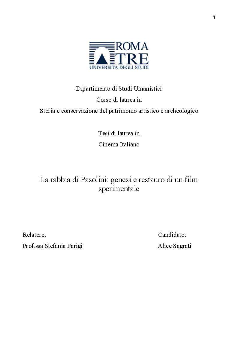 Anteprima della tesi: La rabbia di Pasolini: genesi, restauro ed iconografia di un film sperimentale, Pagina 1