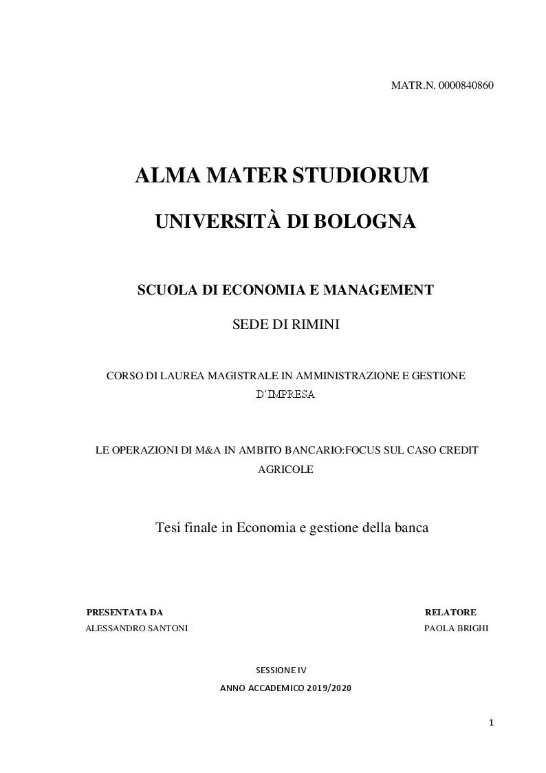 Anteprima della tesi: Le operazioni di fusione e acquisizione in ambito bancario: focus sul caso Crédit Agricole, Pagina 1