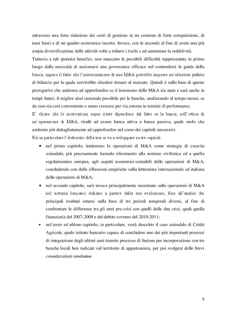 Anteprima della tesi: Le operazioni di fusione e acquisizione in ambito bancario: focus sul caso Crédit Agricole, Pagina 3