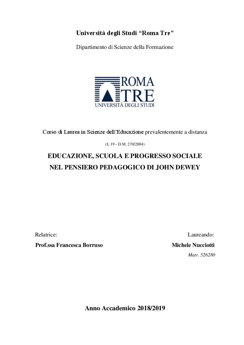 Anteprima della tesi: Educazione, scuola e progresso sociale nel pensiero pedagogico di John Dewey, Pagina 1