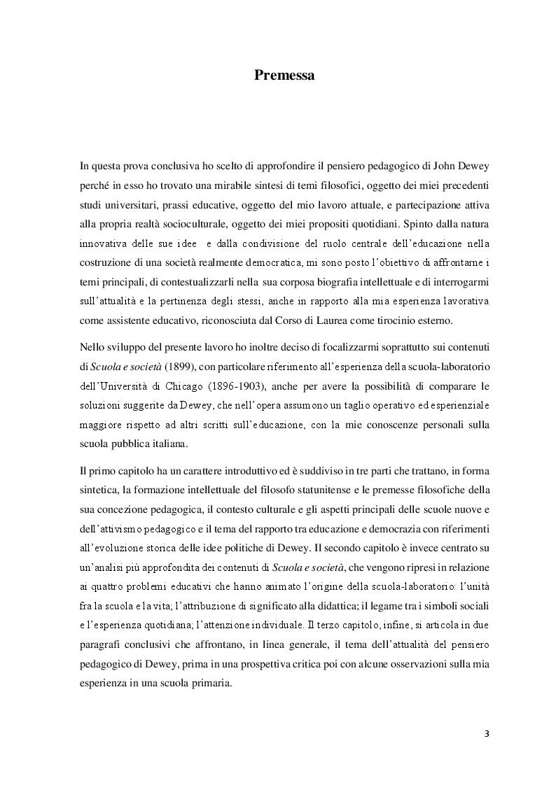 Anteprima della tesi: Educazione, scuola e progresso sociale nel pensiero pedagogico di John Dewey, Pagina 2