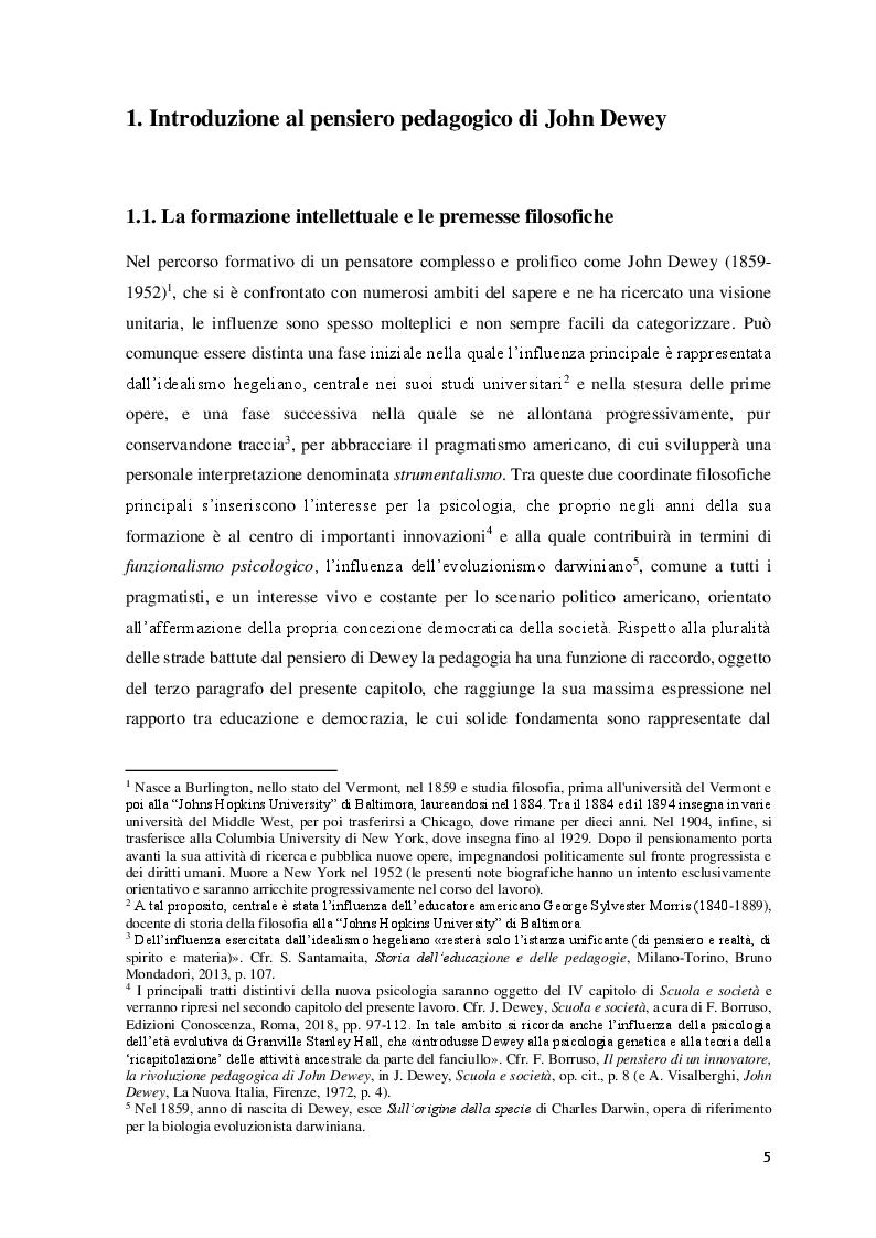 Anteprima della tesi: Educazione, scuola e progresso sociale nel pensiero pedagogico di John Dewey, Pagina 4
