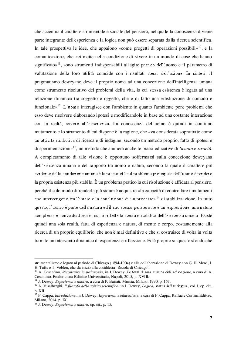 Anteprima della tesi: Educazione, scuola e progresso sociale nel pensiero pedagogico di John Dewey, Pagina 6