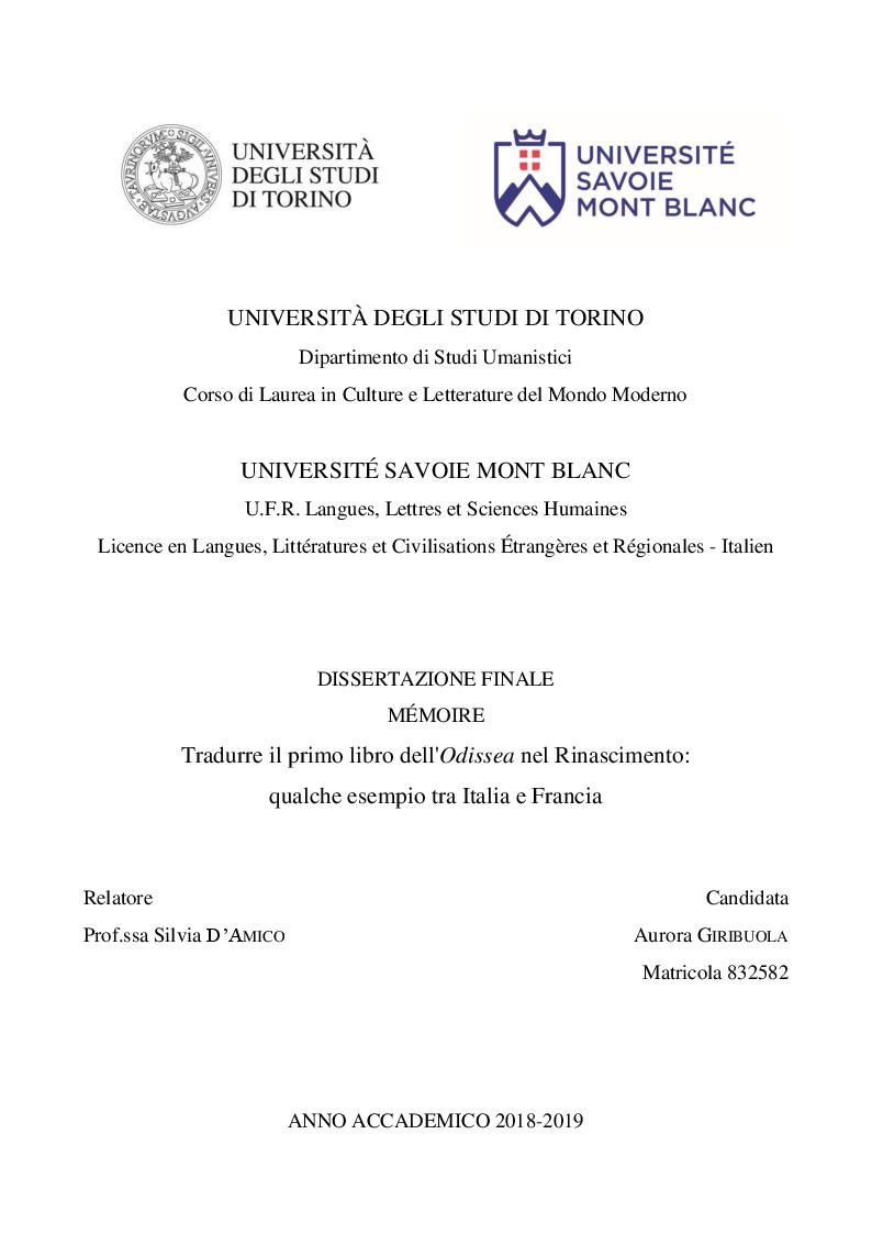 Anteprima della tesi: Tradurre il primo libro dell'Odissea nel Rinascimento: qualche esempio tra Italia e Francia, Pagina 1