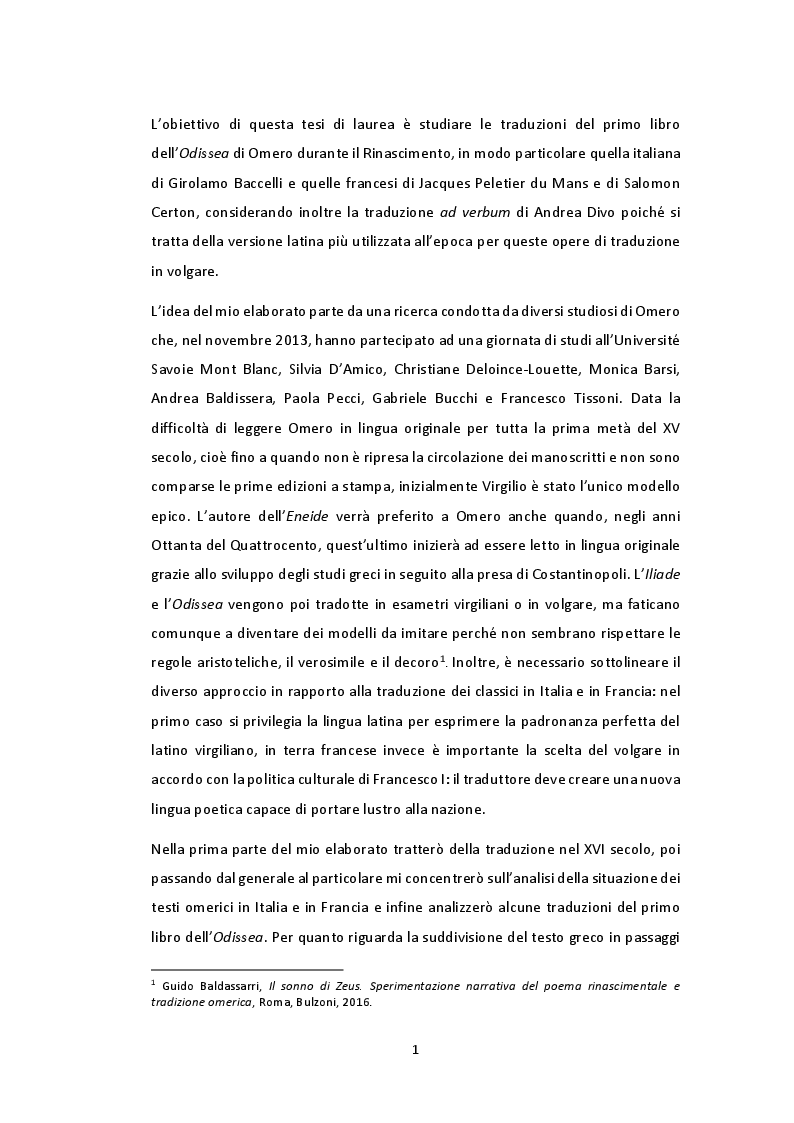 Anteprima della tesi: Tradurre il primo libro dell'Odissea nel Rinascimento: qualche esempio tra Italia e Francia, Pagina 2