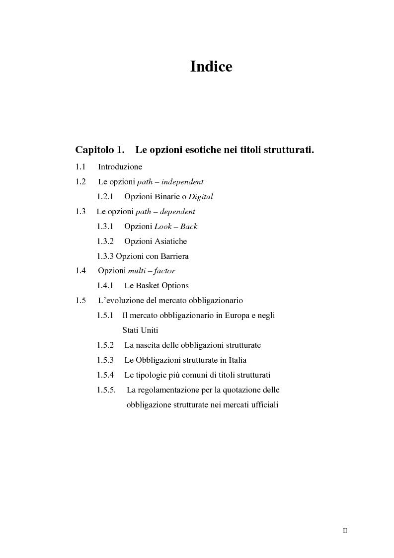 Indice della tesi: L'analisi del profilo di rischio ed il pricing di un titolo index-linked attraverso la simulazione Monte Carlo, Pagina 1