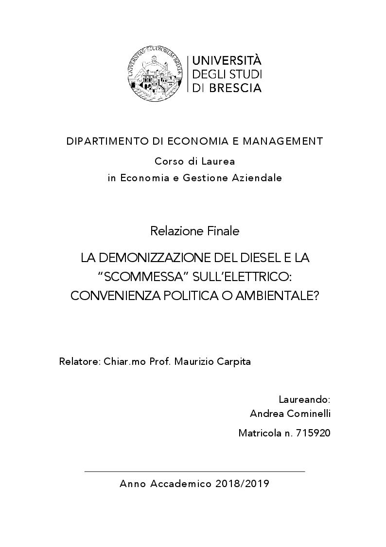 """Anteprima della tesi: La demonizzazione del diesel e la """"scommessa"""" sull'elettrico: convenienza politica o ambientale?, Pagina 1"""