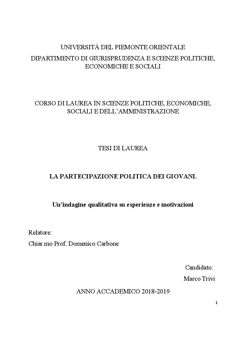 Anteprima della tesi: La partecipazione politica dei giovani. Un'indagine qualitativa su esperienze e motivazioni, Pagina 1