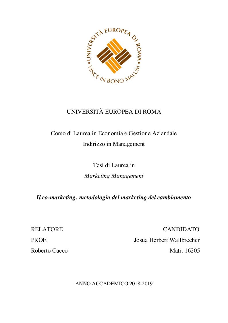 Anteprima della tesi: Il co-marketing: metodologia del marketing del cambiamento, Pagina 1