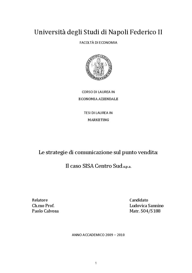 Anteprima della tesi: Le strategie di comunicazione sul punto vendita: Il caso SISA Centro Sud s.p.a, Pagina 1