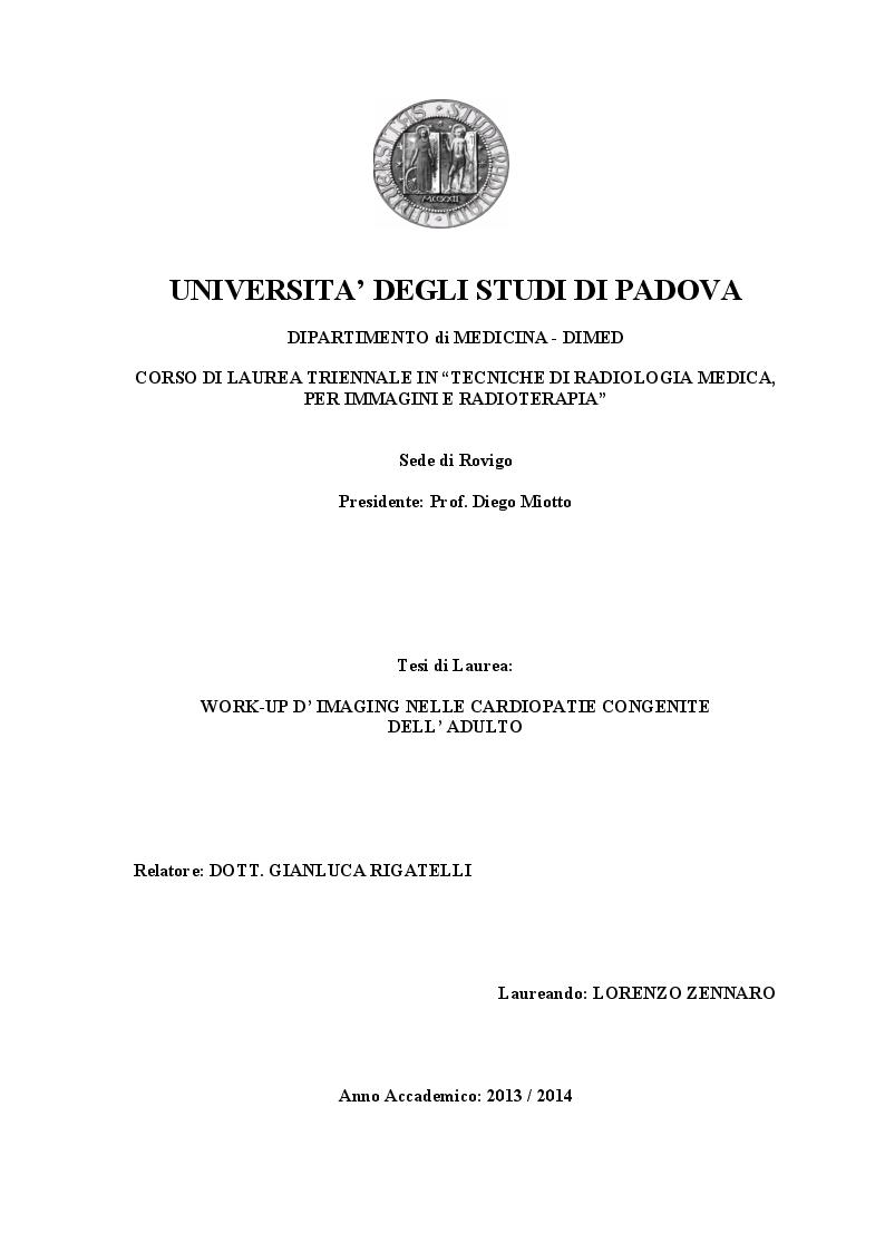 Anteprima della tesi: Work-up d'imaging nelle cardiopatie congenite dell'adulto, Pagina 1