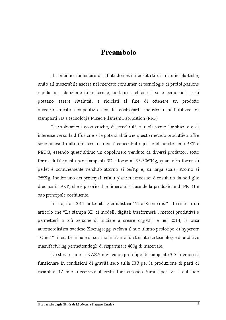 Anteprima della tesi: Filamento in PET riciclato: produzione, analisi ed utilizzo in stampanti 3D FFF, Pagina 2