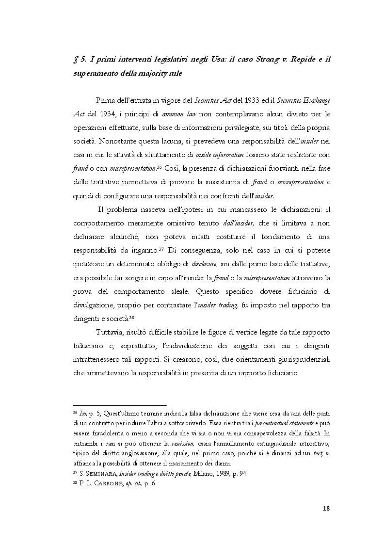 Estratto dalla tesi: L'insider trading dalle origini statunitensi alla disciplina comunitaria e italiana: la sistematica punitiva