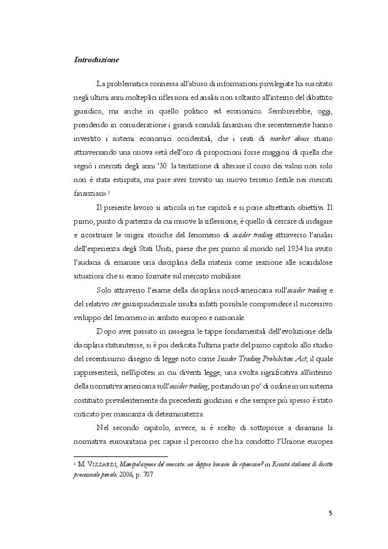 Anteprima della tesi: L'insider trading dalle origini statunitensi alla disciplina comunitaria e italiana: la sistematica punitiva, Pagina 2
